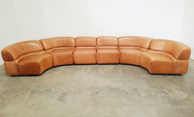 Cognac leather De Sede Cosmos sofa, 1970's