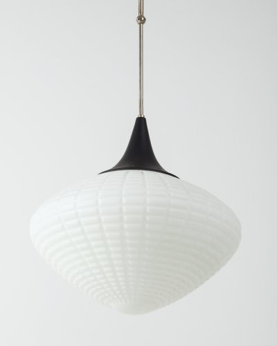 Opaline Ribbed Glass Pendant from Kamenický Šenov, 1950s