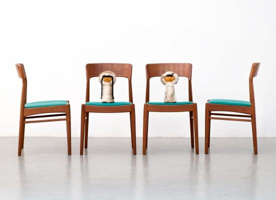 Set of 4 teak dining chairs by Kai Kristiansen for Korup Stolefabrik, 1960s