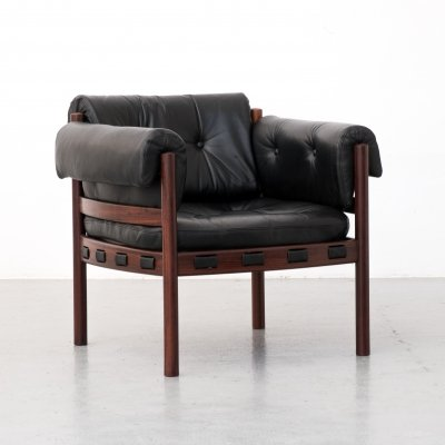 Leather & rosewood armchair by Sven Ellekaer for Coja, 1960s