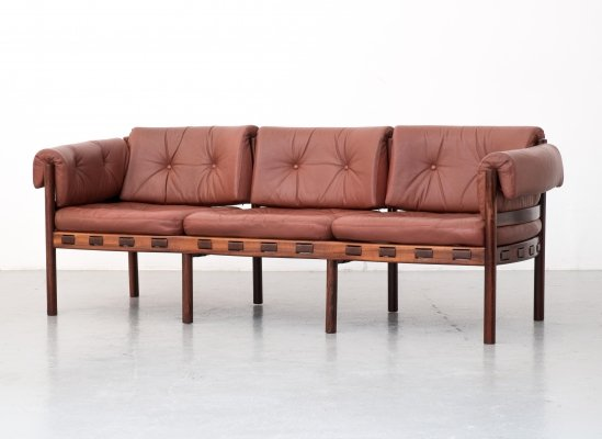 Leather & rosewood model 925 sofa by Sven Ellekaer for Coja, 1960s