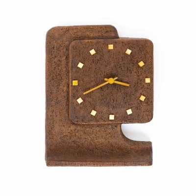 Brutalist table clock in brown stained ceramic, 1970s