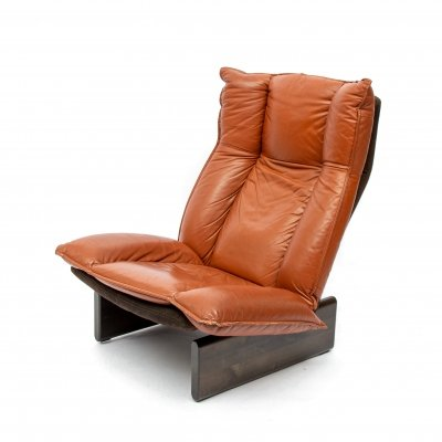 Cognac Leather & Wood Lounge Chair by Leolux, Dutch Modern Design 1970s