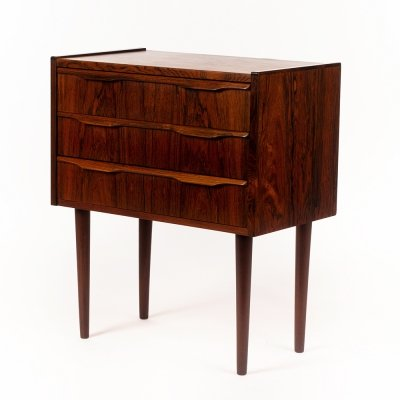 Vintage small Danish chest of drawers in rosewood, 1960's
