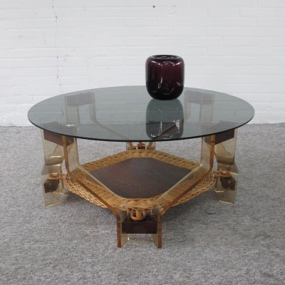 Vintage Plexiglas & Wengé coffee table, 1970s