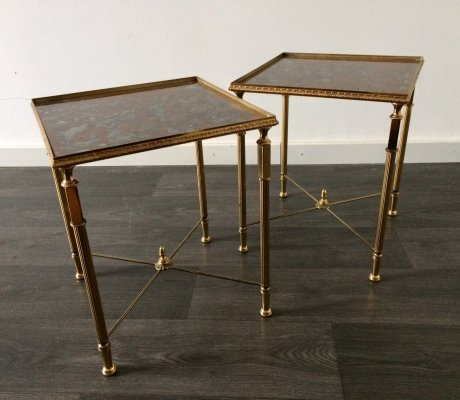 Midcentury Design French Empire set of 2 small Side Tables, 1960's