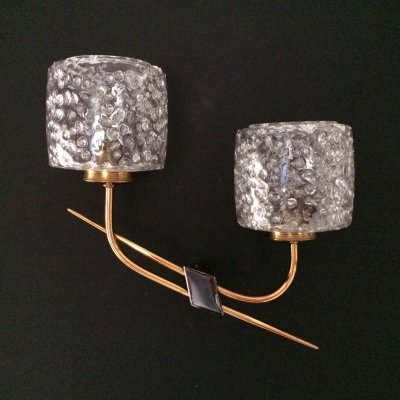 Italian Design 1950's Ice Structure & Brass Wall Lamps