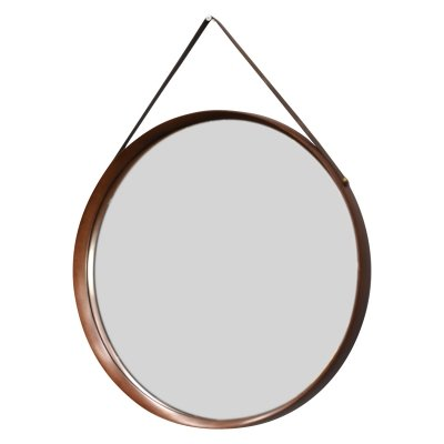 Round Italian mirror in solid teak, leather & brass, 1950's