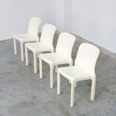 Set of 4 Selene Chairs by Vico Magistretti for Artemide