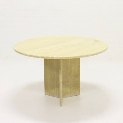 Round Travertine Dining Table by Up&Up, Italy 1970s