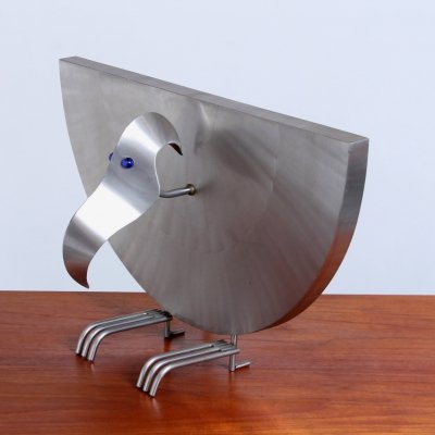 Postmodern steel bird shaped lighting sculpture by Reinhard Stubenrauch, 1990s