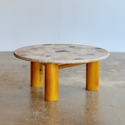 Circular coffee table with jumbo dowel legs & terrazzo top, 1970s