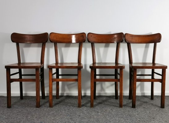 Set of 4 Old Characteristic Bistro Chairs, 1930s