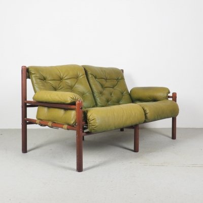 Arne Norell green leather 2-seater safari sofa, 1960s