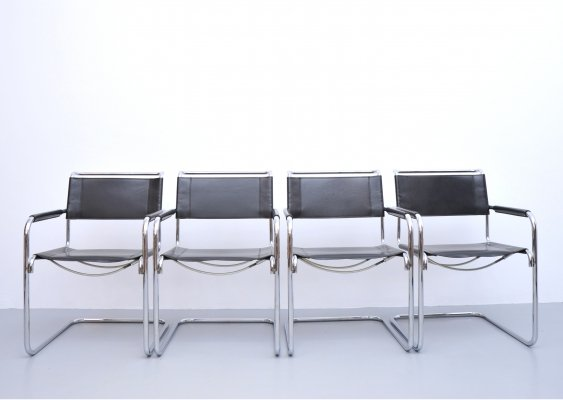 Set of 4 S34 dining chairs by Mart Stam for Thonet, 1990s