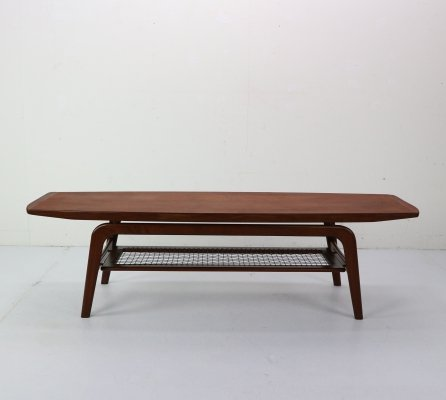 Danish Teak & Wicker Coffee Table by Arne Hovmand-Olsen, Denmark 1960s