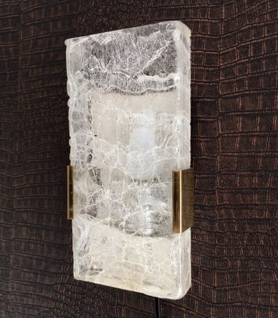 Midcentury Design 1960's Hillebrand Ice Texture Glass Wall Sconce