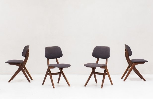 Set of 4 'Pelican' dining chairs by Louis Van Teeffelen for Wébé