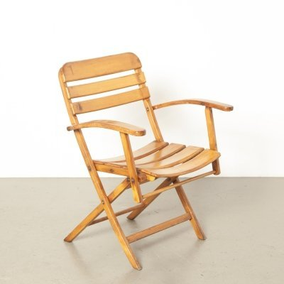 Bauhaus blond wood folding chair by Naether, 1930s