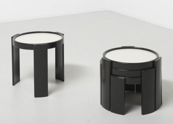 Set of 4 stacking low tables by Gianfranco Frattini, 1960s