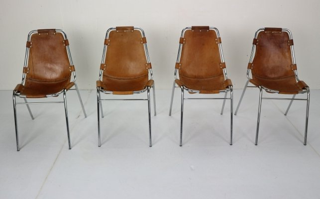 Set of 4 Leather 'Les Arcs' Chairs Selected by Charlotte Perriand, France 1970s
