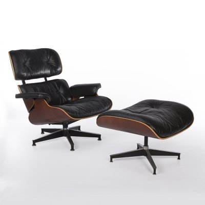 Black & Natural Cherry Herman Miller Eames Lounge Chair & Ottoman, 1990