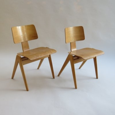 1950s Plywood Hillestak Stacking Chairs by Robin Day for Hille UK