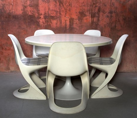 Dining set (table & 5 chairs) by Alexander Begge for Casala, 1970s