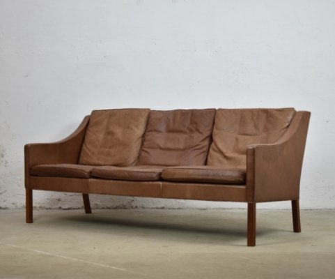 Rare patinated Model 2209 sofa by Børge Mogensen for Fredericia, Denmark 1960's