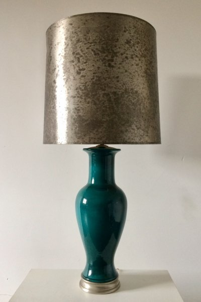 Midcentury 1960's XL Ceramic Lamp with Silver metal Shade