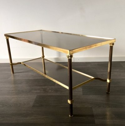 Midcentury Design French Empire Smoked Glass & Brass Coffee Table, 1960's