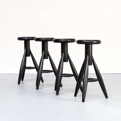 Set of 4 Eero Aarnio 'EA001' black stools for Artek, 1990s