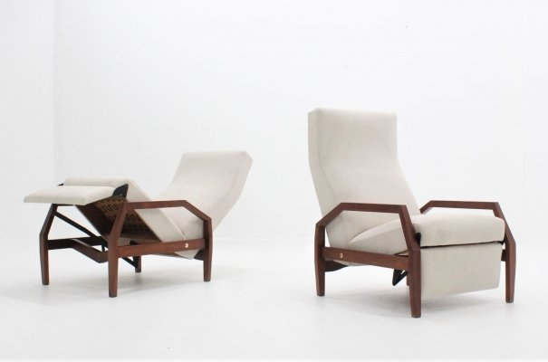 Pair of Poltronissima recliner armchairs by ISA Bergamo 1950s