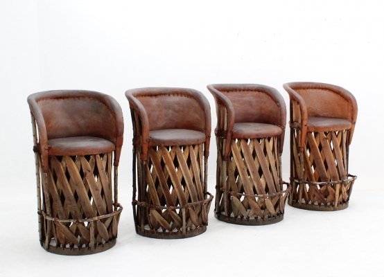 Set of 4 Italian design cow leather stools, 1970s