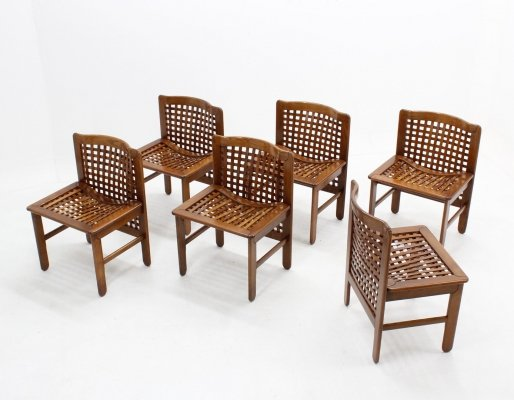 Set of 6 vintage Italian design woven walnut dining chairs, 1970s