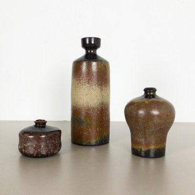 Set of 3 Ceramic Studio Pottery Vases by Elmar & Elke Kubicek, Germany 1970