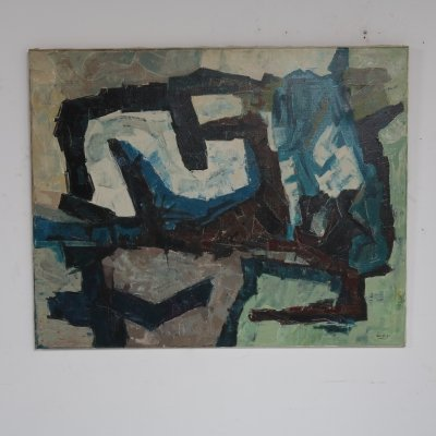 Abstract oil painting made by Jaap de Carpentier, 1971