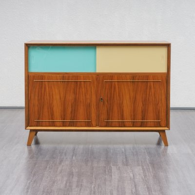 Midcentury Walnut Sideboard With Coloured Glass Doors, 1950s