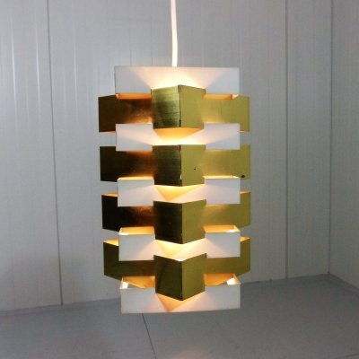 Vintage Danish hanging lamp brass & white steel, 1960's