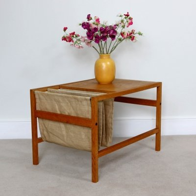 Scandinavian Oak Coffee Table with Magazine rack