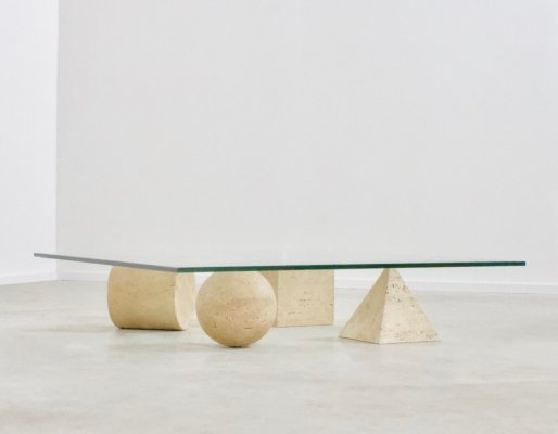 Travertine & Glass Metaphora Coffee Table by Massimo & Lella Vignelli, 1970s