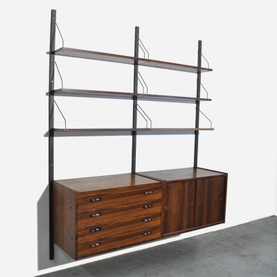 Rosewood shelving system by Preben Sorensen for PS System, Denmark 1960s