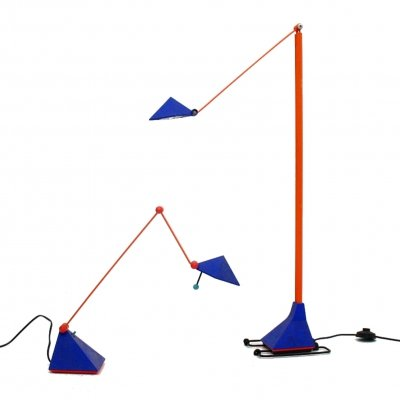 Set of 2 Memphis style lamps by Lungean & Pellman for Brillant Leuchten, Germany 1980s