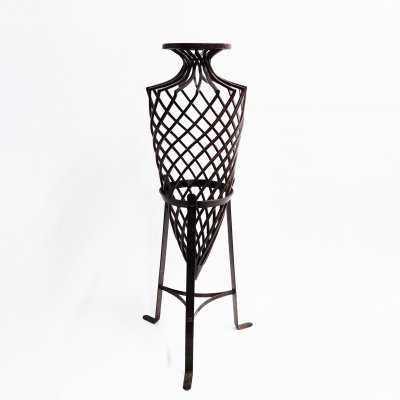 Large handmade wrought iron vase, 1970s