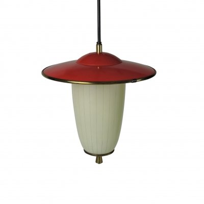 White & Red Glass Metal Pendant Lamp with Brass, 1950s