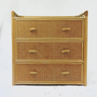 Three Drawer Cane Chest of Drawers, 1970s