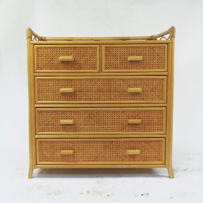 Five Drawer Cane Chest of Drawers, 1970s