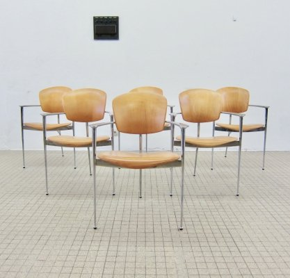 6x vintage 'Andrea' chairs by Josep Llusca for Andreu World, 1986