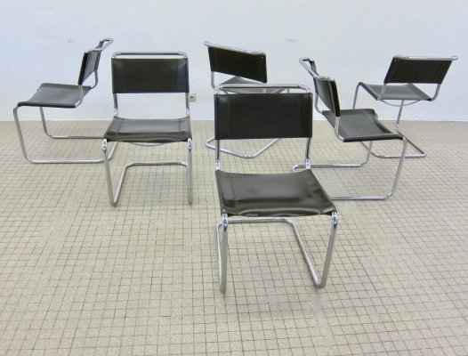 6x vintage Thonet S33 brown leather dining chairs by Mart Stam