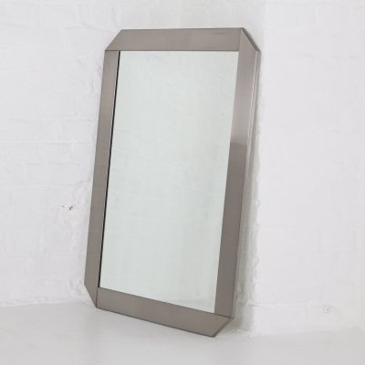 Large brushed steel mirror by Valenti